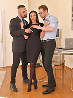 Stocking-clad Romanian Alyssia Kent gets her ass spanked, eaten and gaped in FMM