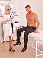Sexy doc Ria Sunn strips her robe and sexy undies for her unique anal treatment